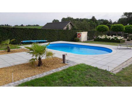 Ovaal inbouwzwembad met stalen wand